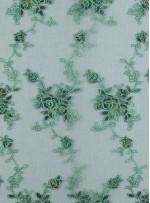 Çiçek Desenli Zümrüt Kordoneli Nakışlı Kumaş - K5046