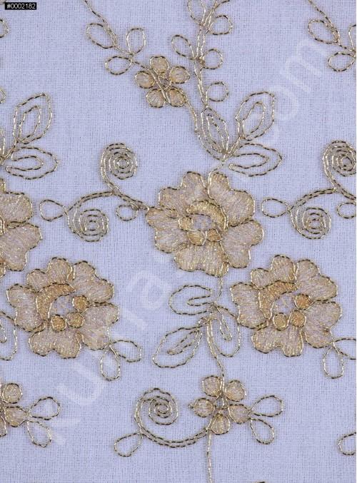 Gold Nakışlı Çiçek Desenli Gold Simli Kordoneli Dantel Kumaş - K5048