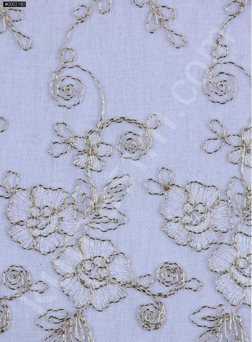 Gold Nakışlı Çiçek Desenli Kemik Simli Kordoneli Dantel Kumaş - K5048