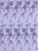 Gold Nakışlı Çiçek Desenli Lila Simli Kordoneli Dantel Kumaş - K5048