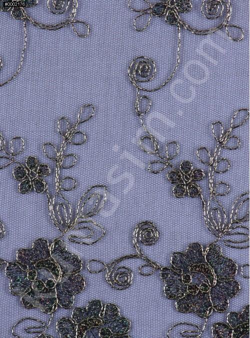 Gold Nakışlı Çiçek Desenli Siyah Gold Simli Kordoneli Dantel Kumaş - K5048