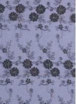 Gold Nakışlı Çiçek Desenli Siyah Gümüş Simli Kordoneli Dantel Kumaş - K5048