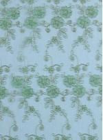 Gold Nakışlı Çiçek Desenli Yeşil Simli Kordoneli Dantel Kumaş - K5048