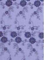Gümüş Nakışlı Çiçek Desenli Mor Simli Kordoneli Dantel Kumaş - K5048