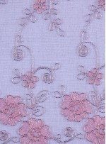Gümüş Nakışlı Çiçek Desenli Pembe Simli Kordoneli Dantel Kumaş - K5048