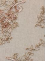 Çiçek Desenli Camel Kordoneli Nakışlı Kumaş - K5049