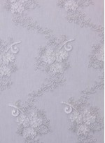 Çiçek Desenli Kemik Kordoneli Nakışlı Kumaş - K5049