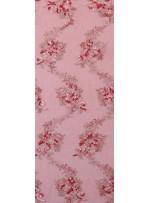 Çiçek Desenli Kırmızı Kordoneli Nakışlı Kumaş - K5049