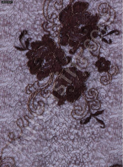 Nakışlı Çiçek Desenli Kahverengi Kordoneli Dantel Kumaş - K5051