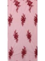 Eteği Sulu Çiçek Desenli Bordo Nakışlı Bordo Kordoneli Dantel Kumaş - K5061