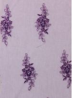 Eteği Sulu Çiçek Desenli Mor Nakışlı Lila Kordoneli Dantel Kumaş - K5061