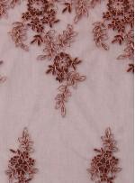 Eteği Sulu Çiçek Desenli Nakışlı Kahverengi Dantel Kumaş - K5061