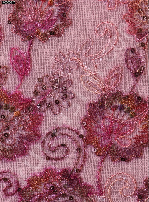 Çiçek Desenli Nişanlık Payetli Bordo Abiyelik Kumaş - K5062