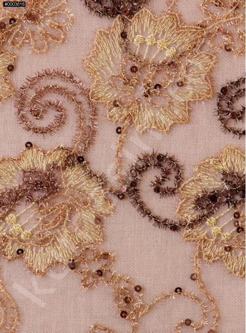 Çiçek Desenli Nişanlık Payetli Camel Abiyelik Kumaş - K5062