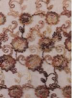 Çiçek Desenli Nişanlık Payetli Kahverengi Abiyelik Kumaş - K5062