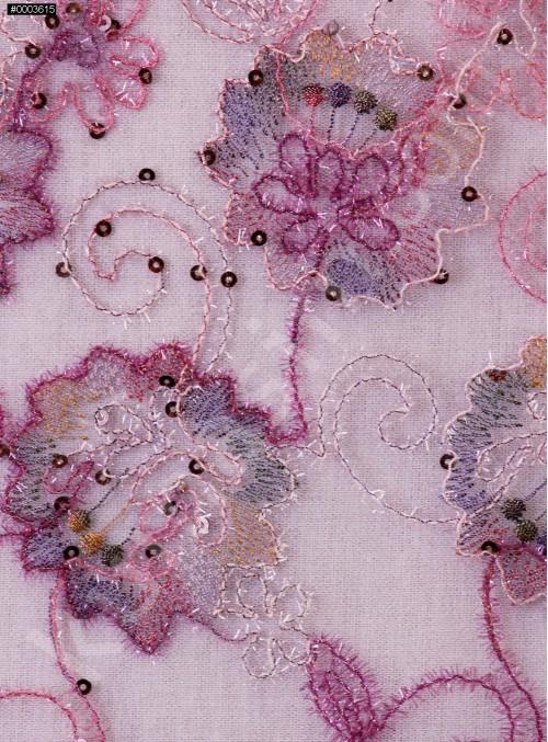 Çiçek Desenli Nişanlık Payetli Lila Abiyelik Kumaş - K5062