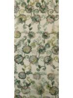 Çiçek Desenli Nişanlık Payetli Yeşil Abiyelik Kumaş - K5062