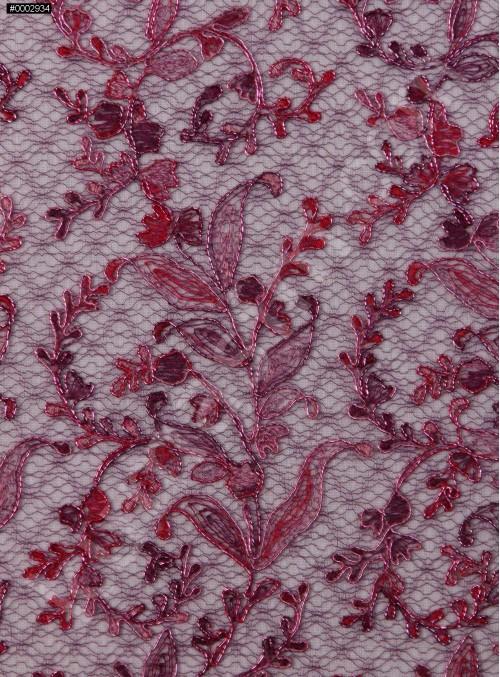 Çiçek Desenli Parlak Kordoneli Bordo Nakışlı Abiye Kumaş - K5069