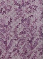 Çiçek Desenli Parlak Kordoneli Lila Nakışlı Abiye Kumaş - K5069