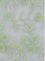 Tül Üzeri Çiçek Desenli Fıstık Yeşili Nakışlı ve Kordoneli Kumaş - K5093
