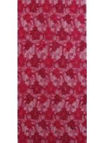Tül Üzeri Çiçek Desenli Fuşya Nakışlı ve Kordoneli Kumaş - K5093