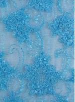 Tül Üzeri Çiçek Desenli Mavi Nakışlı ve Kordoneli Kumaş - K5093