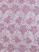 Tül Üzeri Çiçek Desenli Pudra Nakışlı ve Kordoneli Kumaş - K5093