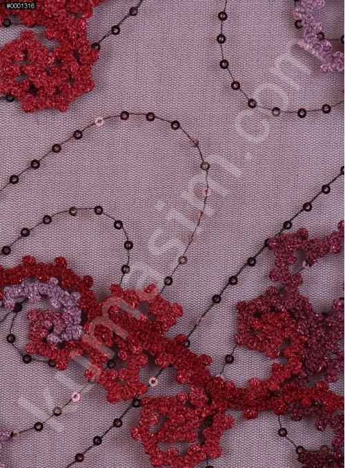 Tül Üzeri Kordone Çiçek Desenli Payetli Bordo Kumaş - K5135