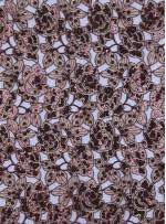 Çiçek Desenli Payetli Abiyelik Kahve Kumaş - K5136
