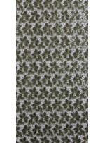 Güpür Üzeri Payetli Haki Yeşil Abiyelik Kumaş - K5139