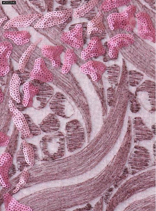 Nakış ve Payet İşlemeli Pudra Abiyelik Kumaş - K5152