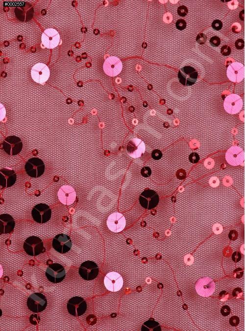 Küçük ve Büyük Payetli Kırmızı Abiyelik Kumaş - K5162