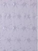 Çiçek Desenli Şeffaf Payetli Gelinlik Kumaş - K5165