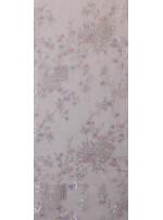 Kordone Dal ve Çiçek Desenli Hologram Payetli Kemik Kumaş - K5170