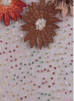 Payetli Nakışlı 3 Boyutlu Çiçek Desenli Camel Kumaş - K5174