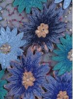 Payetli Nakışlı 3 Boyutlu Çiçek Desenli Petrol Kumaş - K5174
