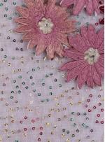 Payetli Nakışlı 3 Boyutlu Çiçek Desenli Pudra Kumaş - K5174