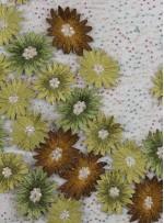 Payetli Nakışlı 3 Boyutlu Çiçek Desenli Yeşil Kumaş - K5174