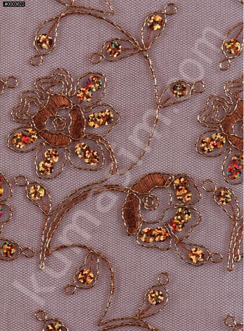 Gold Kordoneli Payetli Nişanlık Kahverengi Abiyelik Kumaş - K5178