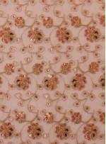 Kordone Çiçekli Payetli Kahverengi Abiyelik Kumaş - K5201
