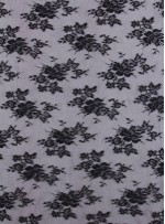 Çiçekli ve Simli Siyah Abiyelik Kumaş - K5217