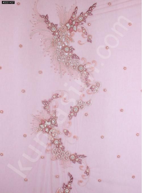 Çiçek Desenli Swarovski Taşlı - Payetli ve Boncuklu Kupon Pembe Elbise - A528