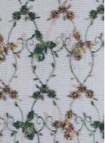 Akış Desenli Boncuk İşlemeli Yeşil Abiyelik Kumaş - K5402