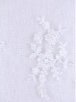 Kesilebilir Aplike Çiçekli Boncuklu Beyaz Kumaş - 5403