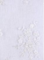 Kesilebilir Aplike Çiçekli Boncuklu Kemik Kumaş - 5403