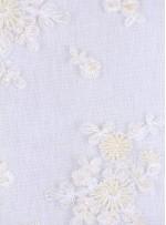 Kesilebilir Aplike Çiçekli Boncuklu Krem Kumaş - 5403