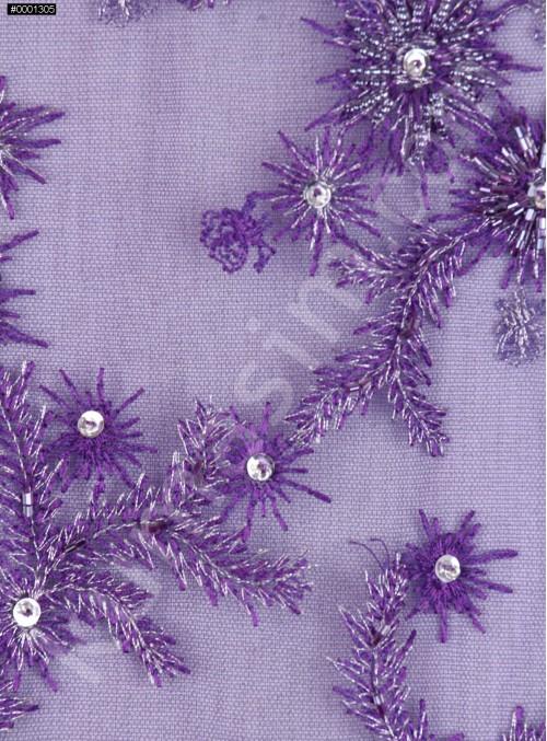 Boncuklu Aplike Çiçek Desenli Dilimli Mor Kumaş - K5404