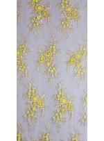 Çiçek Desenli Gold Kordoneli ve Şaffaf Payetli Kumaş - K5408