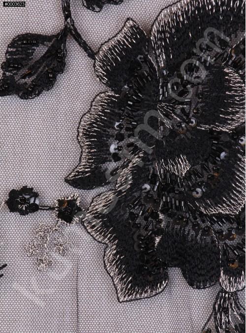 Siyah Payetli ve Boncuk İşlemeli Nişanlık Abiye Kumaş - K5410