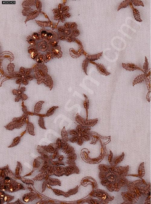 Çiçek Desenli Kahverengi Nakışlı ve Boncuklu Abiyelik Kumaş - K5414